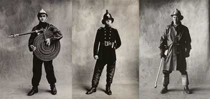 Irving Penn portraits of firemen in Paris, London and New York, 1950-51.