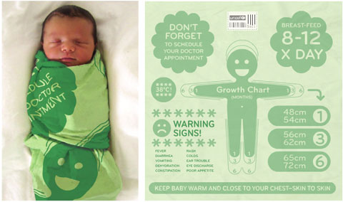 Instructional baby blanket prototype by the ad agency Beattie McGuinness Bungay, from a PSFK report on health and technology for UNICEF.
