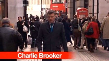 Charlie Brooker deconstructs a standard television news broadcast report.