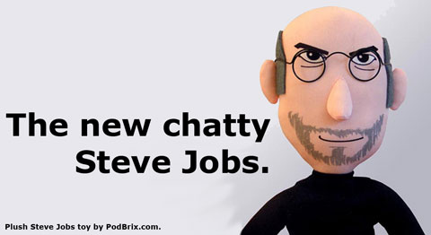 The new chatty Steve Jobs. Plush toy by PodBrix.com.