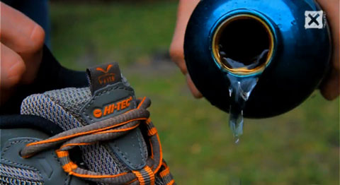 Image from video on running on water with shoes from Hi-Tec Sports.