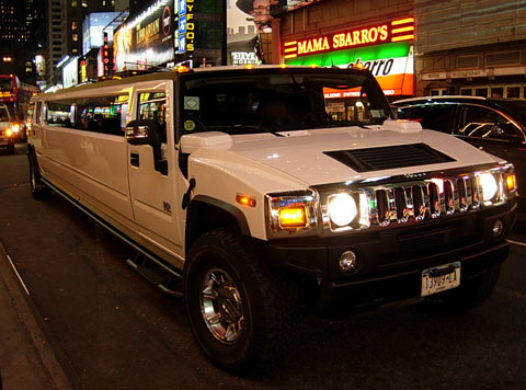 Hummer stretch limo at Times Square in New York City.