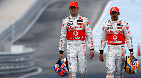 Jenson Button and Lewis Hamilton of the McLaren F1 team.