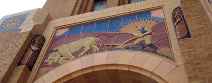 Kansas state motto, ad astra per aspera, 'to the stars through difficulties,' at Wichita High School North.