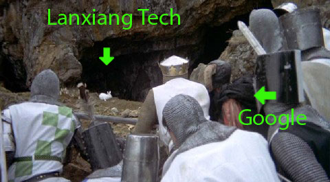 Is Lanxiang Tech the killer rabbit in a Monty Python hacking battle against Google?