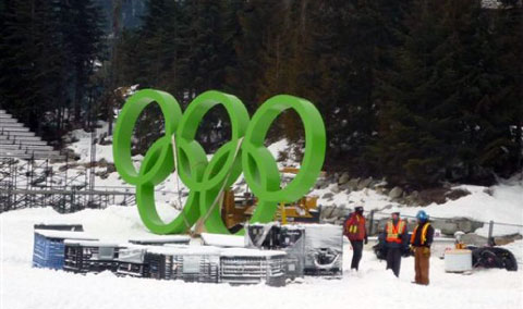 Installing the Olympic rings, alpine venue, Vancouver 2010 Olympic Winter Games.